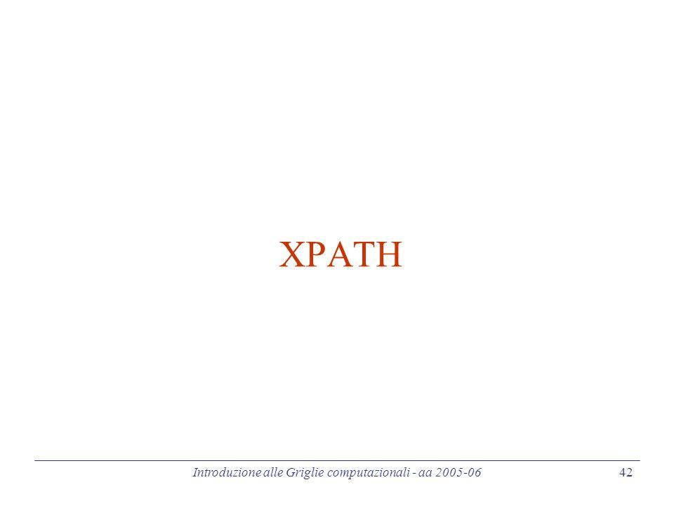 Introduzione alle Griglie computazionali - aa 2005-06 42 XPATH
