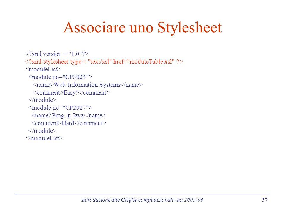 Introduzione alle Griglie computazionali - aa 2005-06 57 Associare uno Stylesheet Web Information Systems Easy.