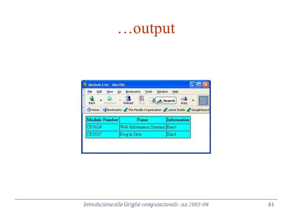Introduzione alle Griglie computazionali - aa 2005-06 61 …output