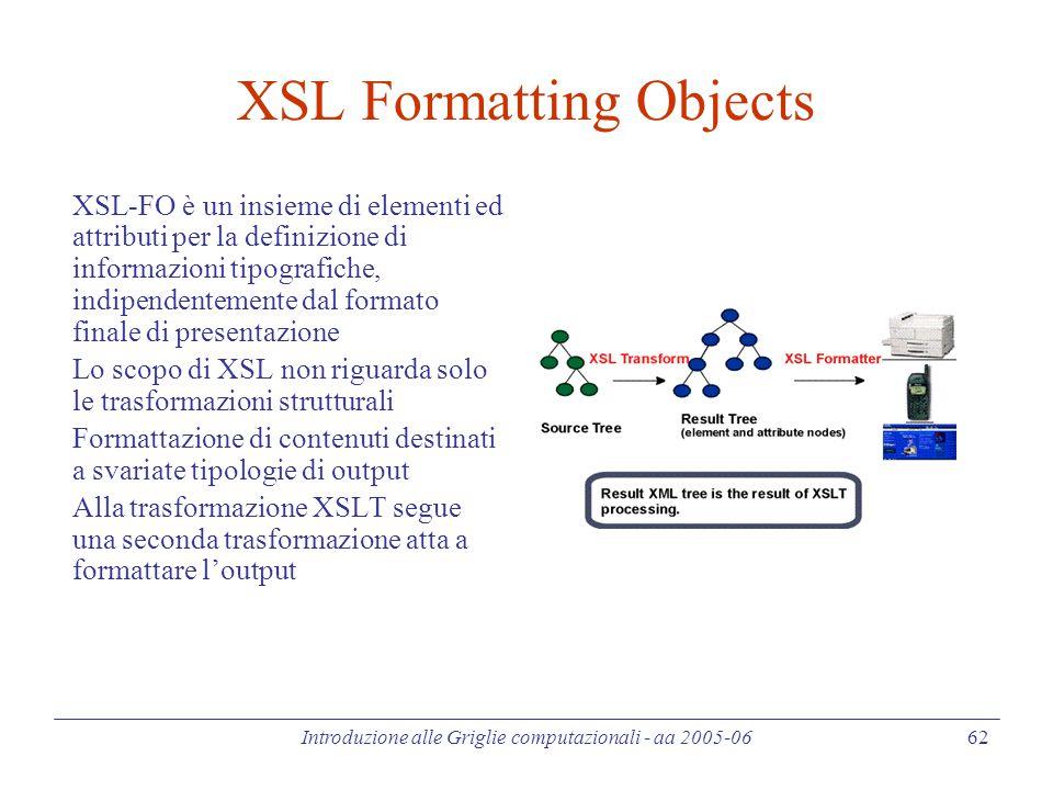 Introduzione alle Griglie computazionali - aa 2005-06 62 XSL Formatting Objects XSL-FO è un insieme di elementi ed attributi per la definizione di informazioni tipografiche, indipendentemente dal formato finale di presentazione Lo scopo di XSL non riguarda solo le trasformazioni strutturali Formattazione di contenuti destinati a svariate tipologie di output Alla trasformazione XSLT segue una seconda trasformazione atta a formattare l'output