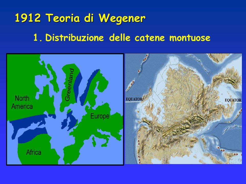 1912 Teoria di Wegener 1.Distribuzione delle catene montuose
