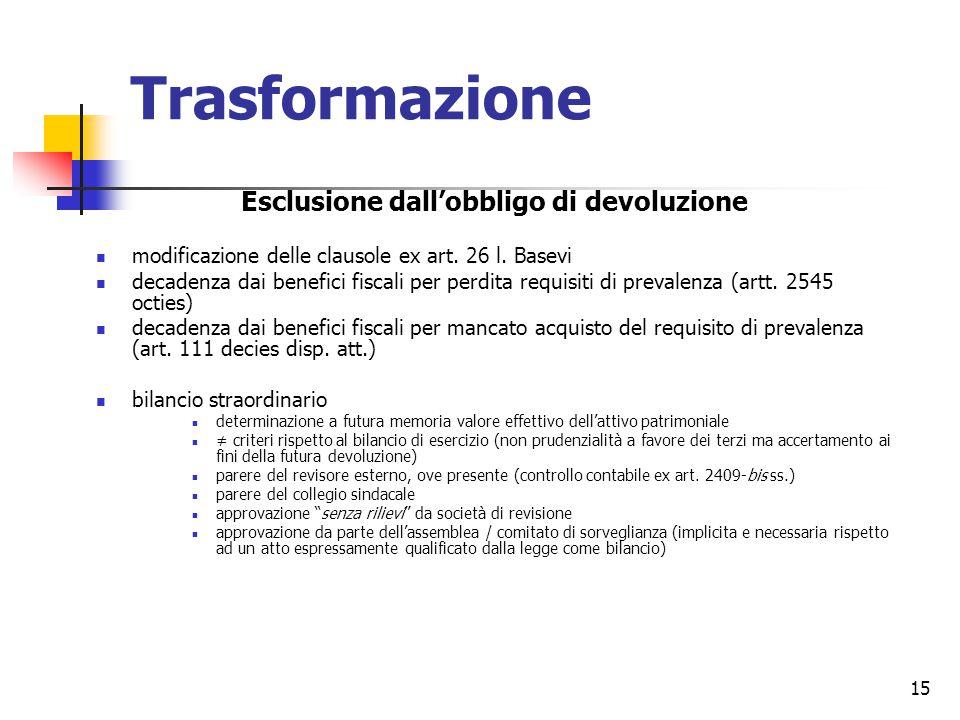15 Trasformazione Esclusione dall'obbligo di devoluzione modificazione delle clausole ex art.