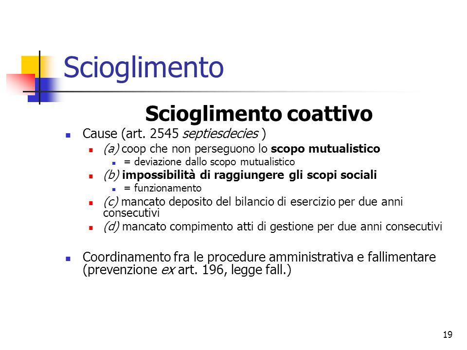 19 Scioglimento Scioglimento coattivo Cause (art.