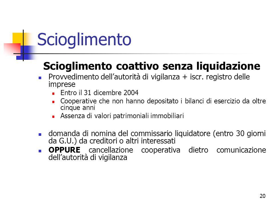 20 Scioglimento Scioglimento coattivo senza liquidazione Provvedimento dell'autorità di vigilanza + iscr.