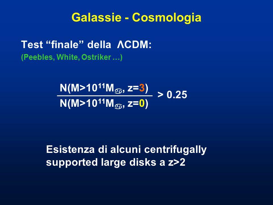 Galassie - Cosmologia Test finale della ΛCDM: (Peebles, White, Ostriker …) > 0.25 N(M>10 11 M , z=3) N(M>10 11 M , z=0) Esistenza di alcuni centrifugally supported large disks a z>2