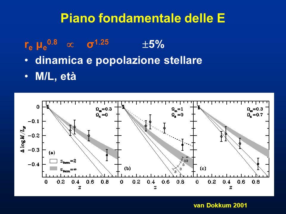 Piano fondamentale delle E r e μ e 0.8  σ 1.25  5% dinamica e popolazione stellare M/L, età van Dokkum 2001