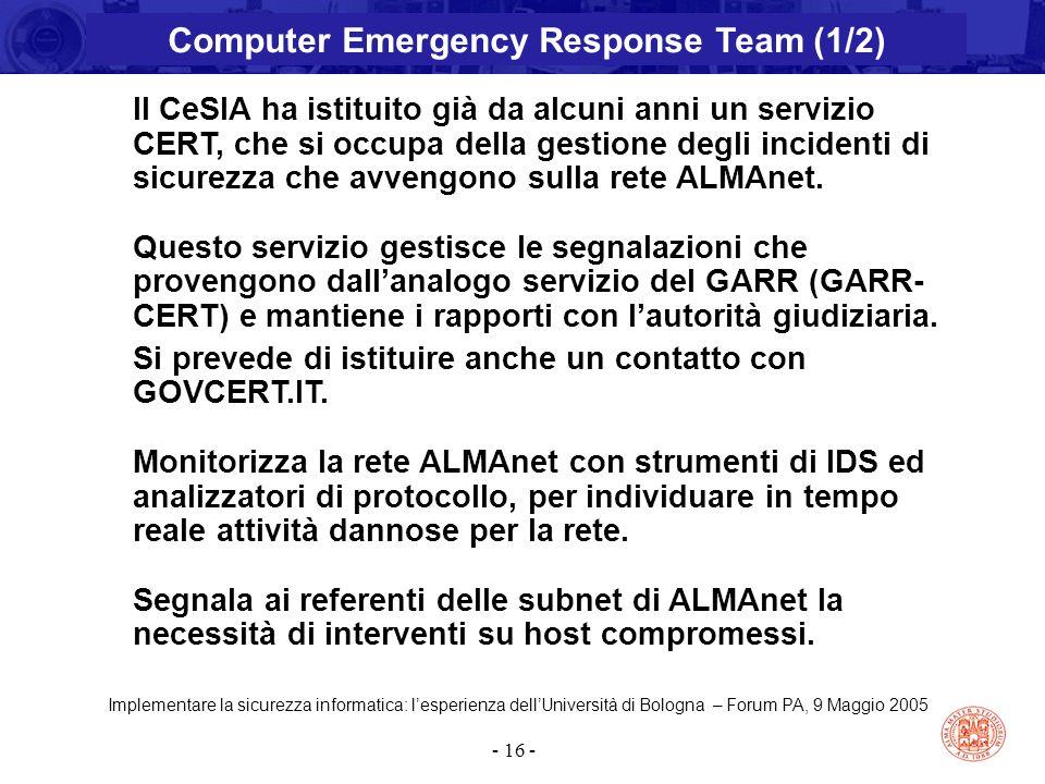 Implementare la sicurezza informatica: l'esperienza dell'Università di Bologna – Forum PA, 9 Maggio 2005 - 16 - Il CeSIA ha istituito già da alcuni an