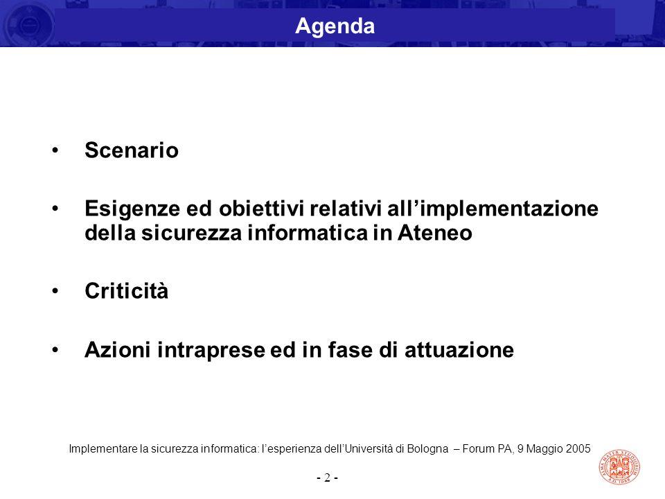 Implementare la sicurezza informatica: l'esperienza dell'Università di Bologna – Forum PA, 9 Maggio 2005 - 2 - Scenario Esigenze ed obiettivi relativi