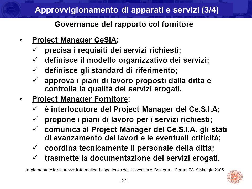 Implementare la sicurezza informatica: l'esperienza dell'Università di Bologna – Forum PA, 9 Maggio 2005 - 22 - Governance del rapporto col fornitore