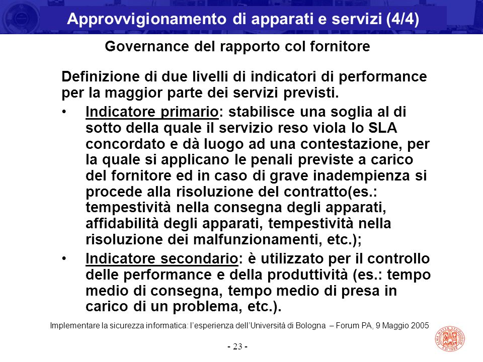 Implementare la sicurezza informatica: l'esperienza dell'Università di Bologna – Forum PA, 9 Maggio 2005 - 23 - Governance del rapporto col fornitore