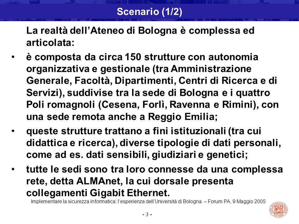 Implementare la sicurezza informatica: l'esperienza dell'Università di Bologna – Forum PA, 9 Maggio 2005 - 3 - Scenario (1/2) La realtà dell'Ateneo di