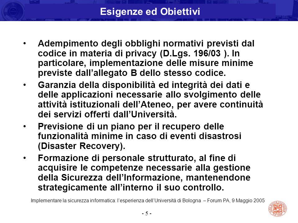 Implementare la sicurezza informatica: l'esperienza dell'Università di Bologna – Forum PA, 9 Maggio 2005 - 5 - Adempimento degli obblighi normativi pr
