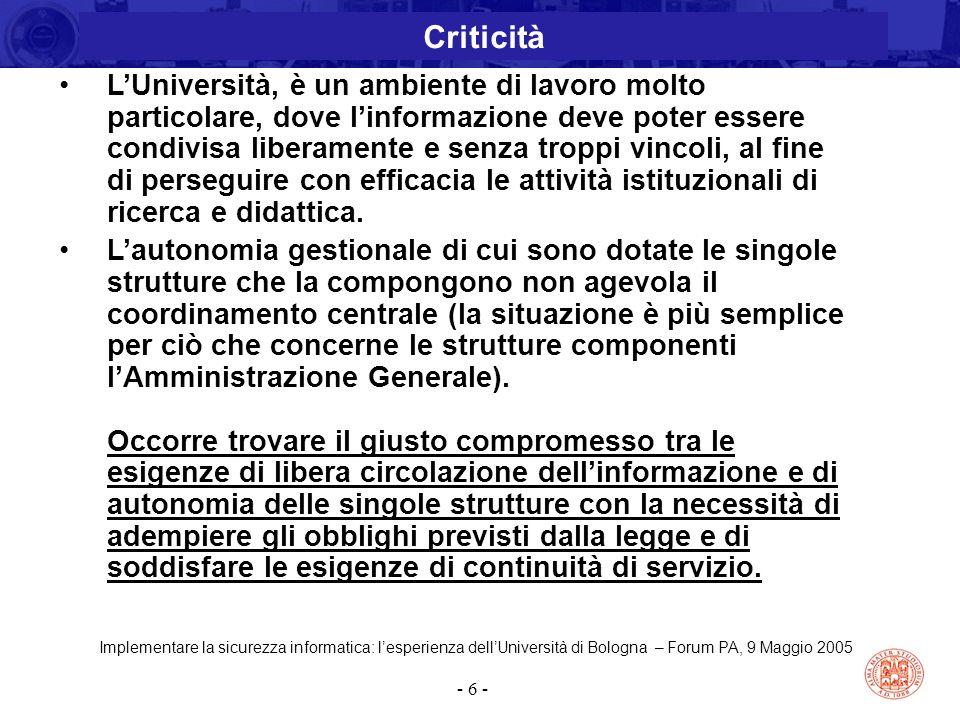 Implementare la sicurezza informatica: l'esperienza dell'Università di Bologna – Forum PA, 9 Maggio 2005 - 6 - L'Università, è un ambiente di lavoro m