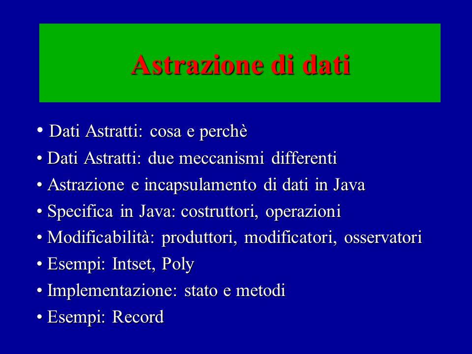 Dati Astratti: cosa e perchè Dati non presenti nel linguaggioDati non presenti nel linguaggio: –insiemi, polinomi, code, … Come introdurli e usarli nei programmiCome introdurli e usarli nei programmi.