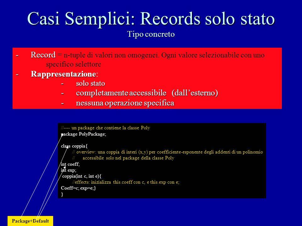 Casi Semplici: Records Tipo astratto public class coppia{ // overview: una coppia di interi (x,y), modificabile, per interi, // accessibile ovunque con selettori L (per Left) e R (per Right) private int L; private int R; public coppia(int l, int r){ //effects: inizializza this.L con l, e this.R con r; L=l; R=r;} //---- modificatori public void setL(int n){ //modifies: this //effects: modifica this.L con n L=n;} public void setR(int n){ //modifies: this //effects: modifica this.R con n R=n;} //--- osservatori: diventano i selettori public int Left(){ //effects:calcola this.L Return L;} public int Right(){ //effects:calcola this.R Return R;} } Public + Incapsulamento (accesso allo stato solo attraverso operazioni) Incapsulamento: accesso al valore solo attraverso particolari operazioni pubbliche