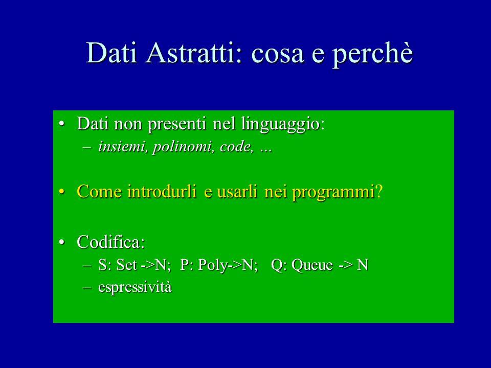 Dati Astratti: due meccanismi differenti Tipi algebrici (Ling.