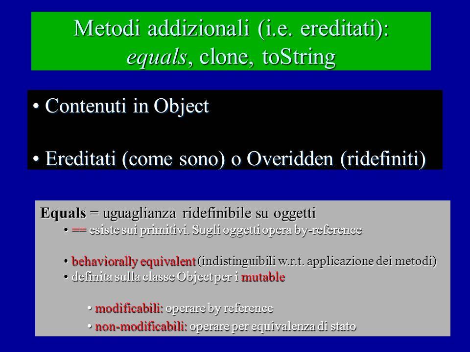 Esempio: Equals public class Main { //overview: contiene un main per il testing di equals // su string.