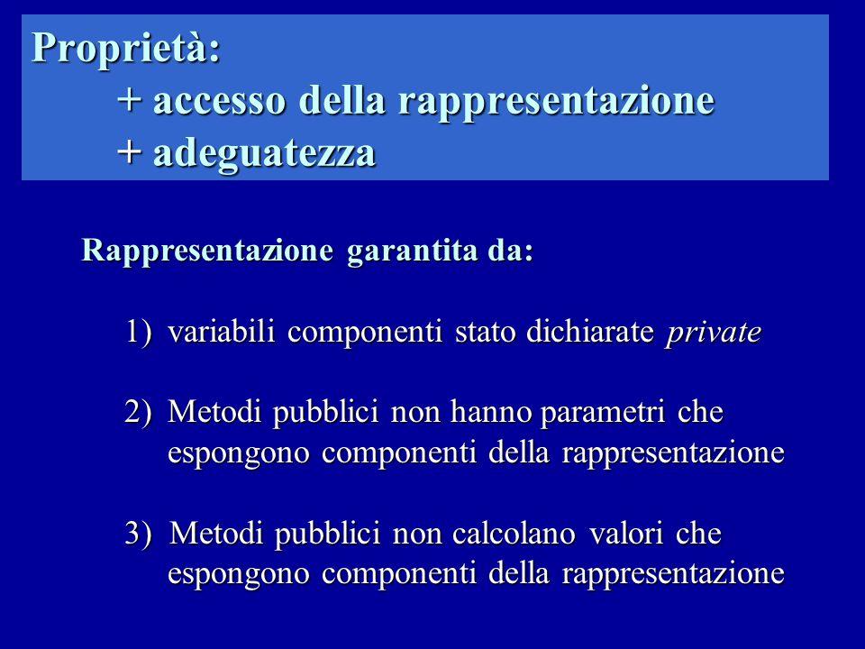 Proprietà: + accesso della rappresentazione + adeguatezza Rappresentazione garantita da: 1)variabili componenti stato dichiarate private 2)Metodi pubb