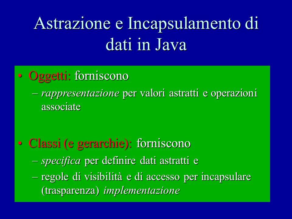 Specifica di dati in Java Definisce: classe: overview: proprietà generali modificabilità / non-modific.