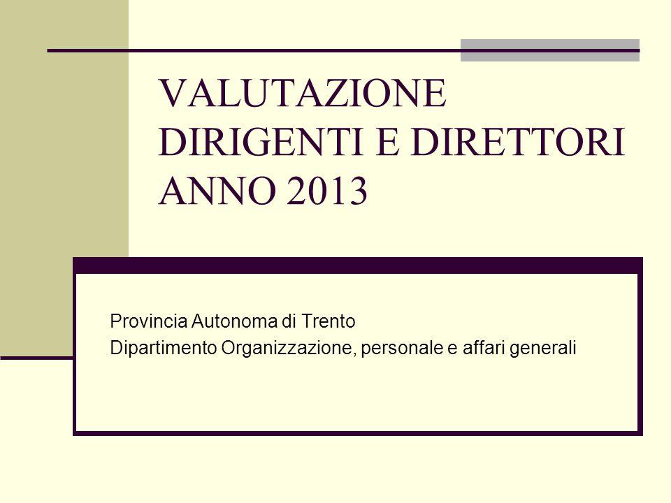 VALUTAZIONE DIRIGENTI E DIRETTORI ANNO 2013 Provincia Autonoma di Trento Dipartimento Organizzazione, personale e affari generali