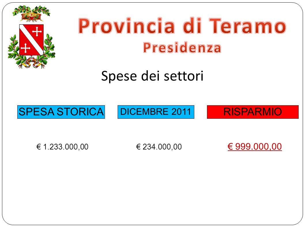 Spese dei settori SPESA STORICA DICEMBRE 2011 RISPARMIO € 1.233.000,00 € 234.000,00 € 999.000,00