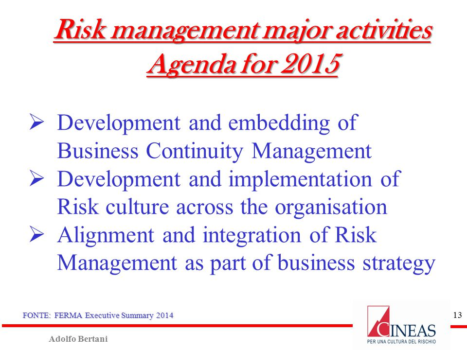 Adolfo Bertani 12 Top 10 Risks Dashboard in 2014 1.Political: Government intervention, legal and regulatory changes 2.Reputation and brand 3.Compliance with regulation and legislation 4.Competition 5.Economic condition 6.Market strategy and client 7.Planning and execution of strategy 8.Human Resource: key people, social security (labour) 9.Quality: design, safety and liability of product and services 10.Debt, cash flow FONTE: FERMA Executive Summary 2014