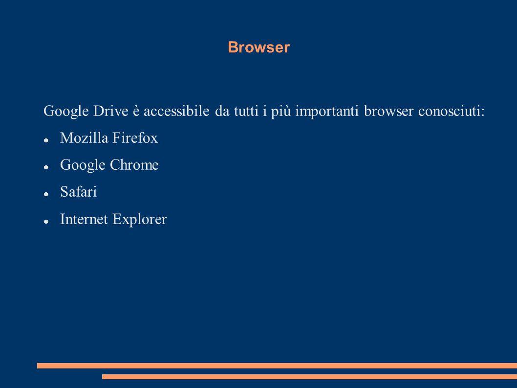 Browser Google Drive è accessibile da tutti i più importanti browser conosciuti: Mozilla Firefox Google Chrome Safari Internet Explorer