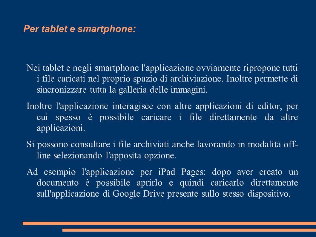 Per tablet e smartphone: Nei tablet e negli smartphone l'applicazione ovviamente ripropone tutti i file caricati nel proprio spazio di archiviazione.