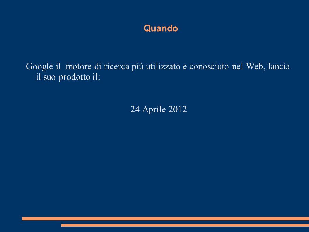 Quando Google il motore di ricerca più utilizzato e conosciuto nel Web, lancia il suo prodotto il: 24 Aprile 2012