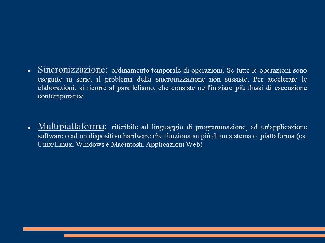 Sincronizzazione: ordinamento temporale di operazioni.