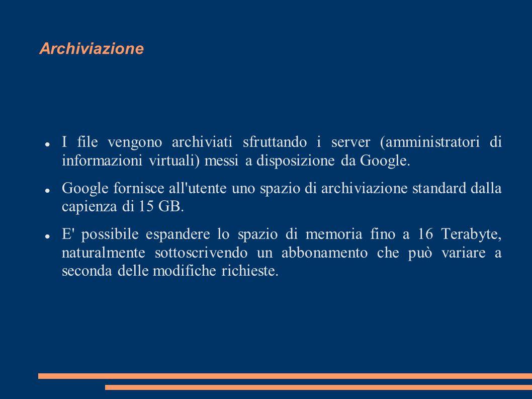 Archiviazione I file vengono archiviati sfruttando i server (amministratori di informazioni virtuali) messi a disposizione da Google. Google fornisce