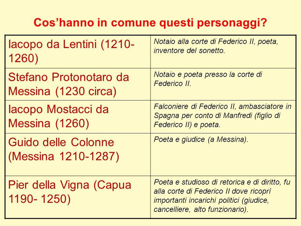 Cos'hanno in comune questi personaggi? Iacopo da Lentini (1210- 1260) Notaio alla corte di Federico II, poeta, inventore del sonetto. Stefano Protonot