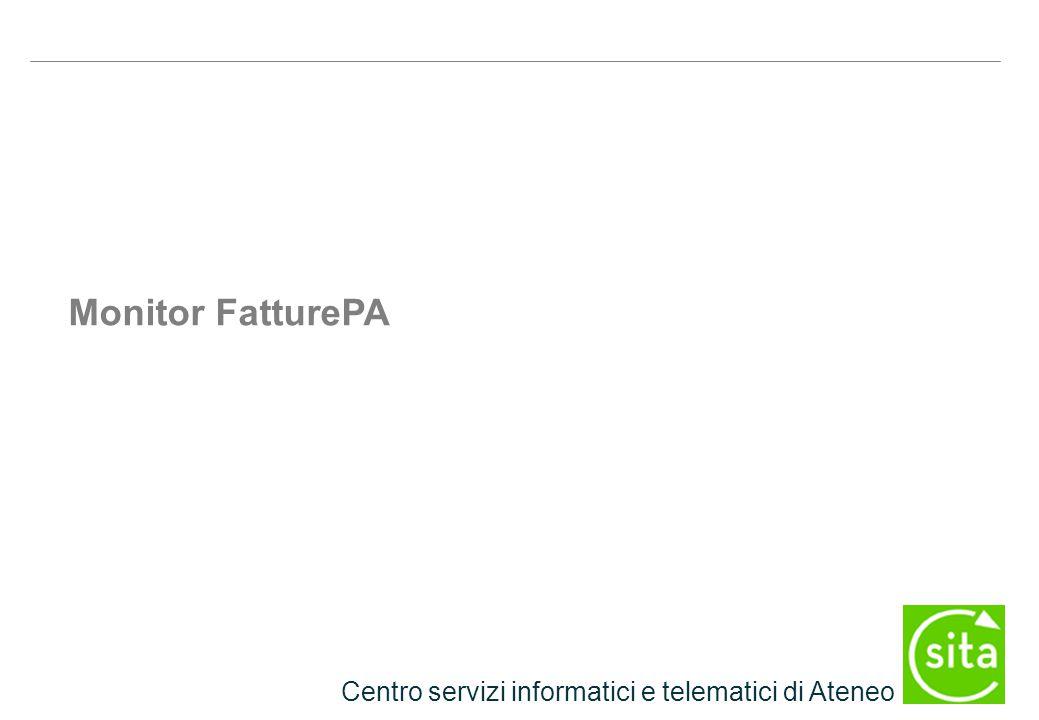 Centro servizi informatici e telematici di Ateneo Monitor FatturePA