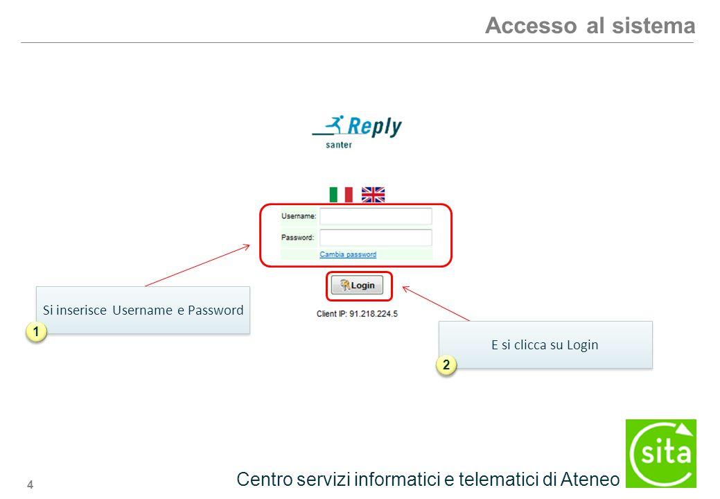 4 Centro servizi informatici e telematici di Ateneo Accesso al sistema Si inserisce Username e Password 1 1 E si clicca su Login 2 2