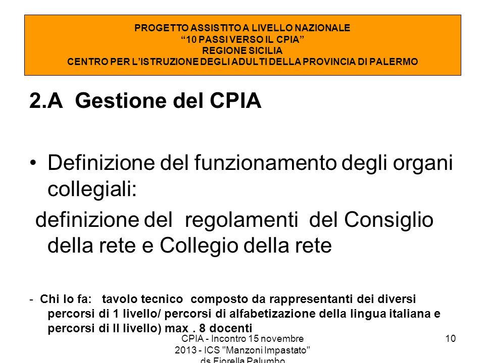 10 2.A Gestione del CPIA Definizione del funzionamento degli organi collegiali: definizione del regolamenti del Consiglio della rete e Collegio della