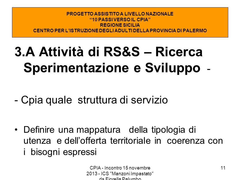 11 3.A Attività di RS&S – Ricerca Sperimentazione e Sviluppo - - Cpia quale struttura di servizio Definire una mappatura della tipologia di utenza e d