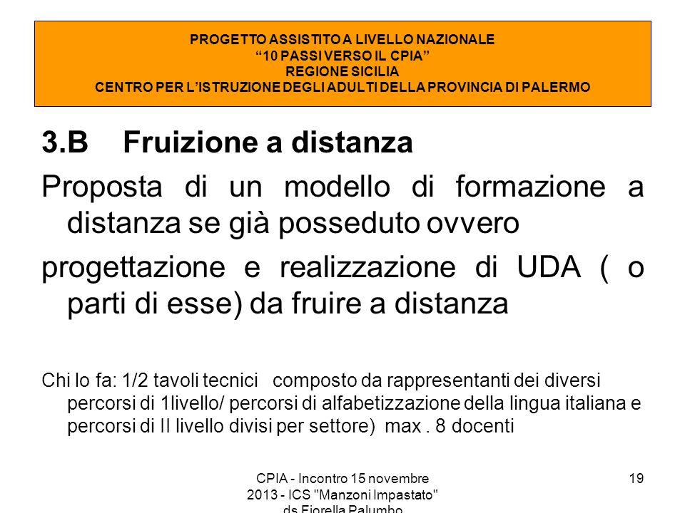 19 3.B Fruizione a distanza Proposta di un modello di formazione a distanza se già posseduto ovvero progettazione e realizzazione di UDA ( o parti di