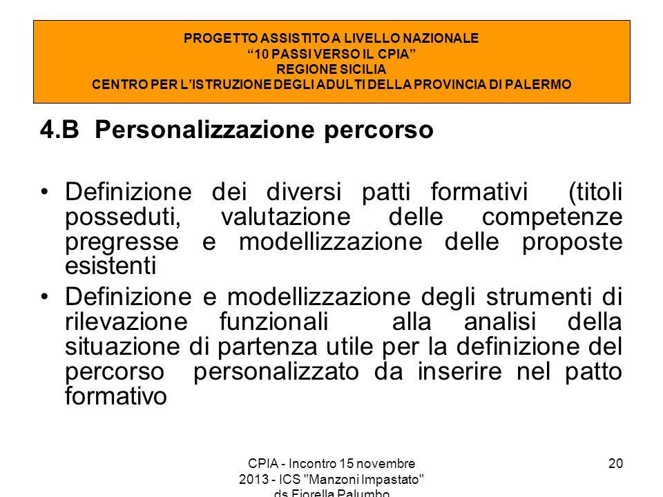 20 4.B Personalizzazione percorso Definizione dei diversi patti formativi (titoli posseduti, valutazione delle competenze pregresse e modellizzazione