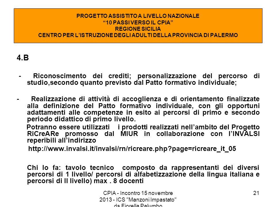 21 4.B - Riconoscimento dei crediti; personalizzazione del percorso di studio,secondo quanto previsto dal Patto formativo individuale; - Realizzazione