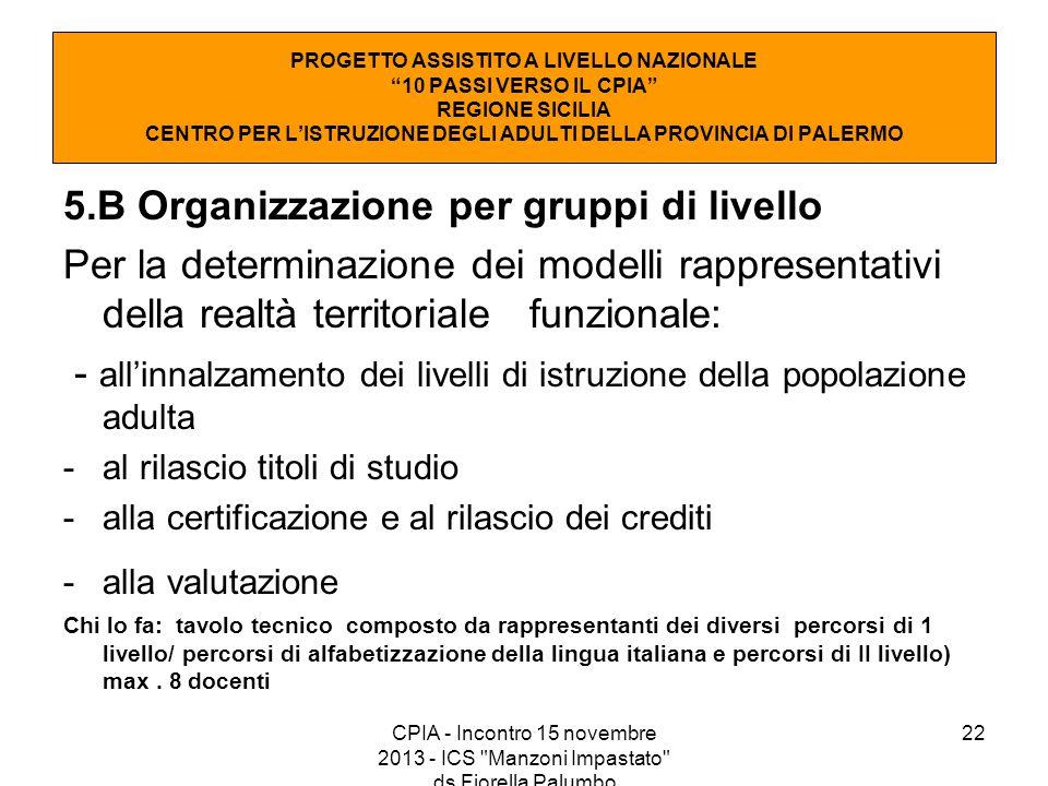 22 5.B Organizzazione per gruppi di livello Per la determinazione dei modelli rappresentativi della realtà territoriale funzionale: - all'innalzamento