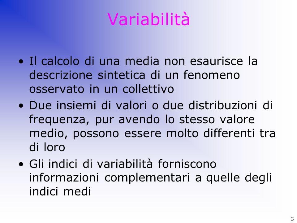 Variabilità Il calcolo di una media non esaurisce la descrizione sintetica di un fenomeno osservato in un collettivo Due insiemi di valori o due distr