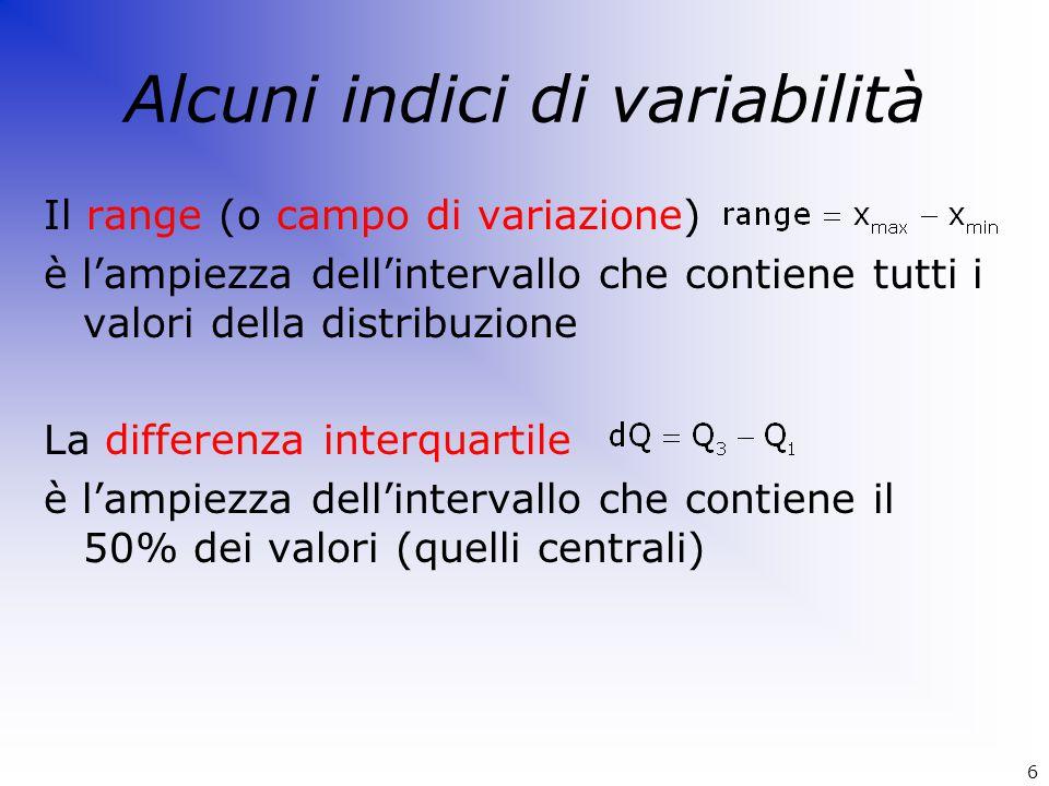 Alcuni indici di variabilità Il range (o campo di variazione) è l'ampiezza dell'intervallo che contiene tutti i valori della distribuzione La differen