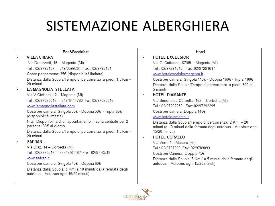 SISTEMAZIONE ALBERGHIERA Bed&Breakfast VILLA CHIARA Via Donizzetti, 16 – Magenta (Mi) Tel.: 02/9793187 – 349/0599264 Fax.: 02/9793181 Costo per persona: 35€ (disponibilità limitata) Distanza dalla Scuola/Tempo di percorrenza a piedi: 1,5 Km – 20 minuti LA MAGNOLIA STELLATA Via V.Gioberti, 12 - Magenta (Mi) Tel.: 02/97020016 – 347/6414780 Fa.: 02/97020016 www.lamagnoliastellata.com Costi per camera: Singola 30€ - Doppia 50€ - Tripla 65€ (disponibilità limitata) N.B.: Disponibilità di un appartamento in zona centrale per 2 persone: 80€ al giorno Distanza dalla Scuola/Tempo di percorrenza a piedi: 1,5 Km – 20 minuti SAFRAN Via Diaz, 14 – Corbetta (Mi) Tel.: 02/9770518 – 333/5381182 Fax: 02/9770518 www.safran.it Costi per camera: Singola 40€ - Doppia 60€ Distanza dalla Scuola: 5 Km (a 10 minuti dalla fermata degli autobus – Autobus ogni 15/20 minuti) Hotel HOTEL EXCELSIOR Via G.