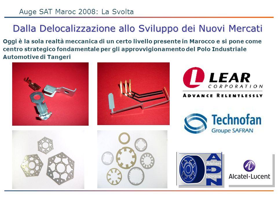 PROGETTO ONE COMPANY Auge SAT Maroc 2008: La Svolta Dalla Delocalizzazione allo Sviluppo dei Nuovi Mercati Oggi è la sola realtà meccanica di un certo