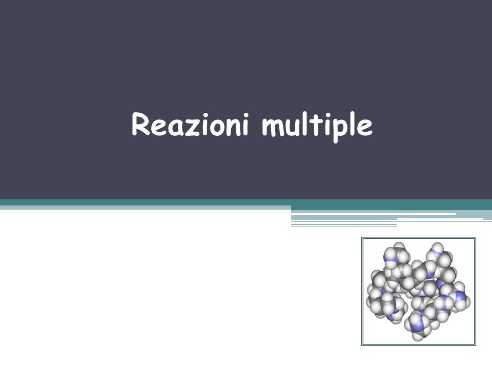 Rezioni Parallele: esempio Reagente A si decompone per 3 reazioni parallele a formare 3 prodotti: uno è quello desiderato D, e 2 sono non desiderati: Q e U.