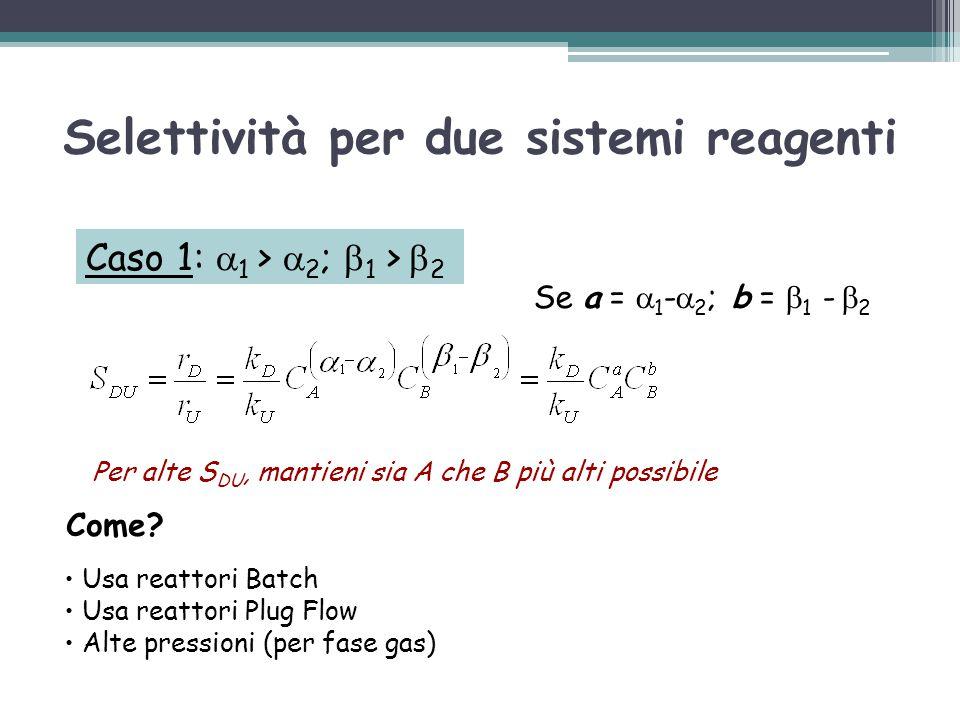 Caso 1:  1 >  2 ;  1 >  2 Come? Usa reattori Batch Usa reattori Plug Flow Alte pressioni (per fase gas) Per alte S DU, mantieni sia A che B più al