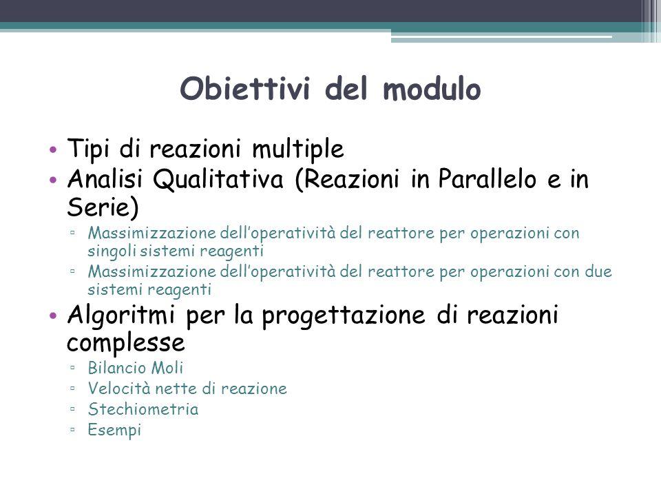 Obiettivi del modulo Tipi di reazioni multiple Analisi Qualitativa (Reazioni in Parallelo e in Serie) ▫ Massimizzazione dell'operatività del reattore
