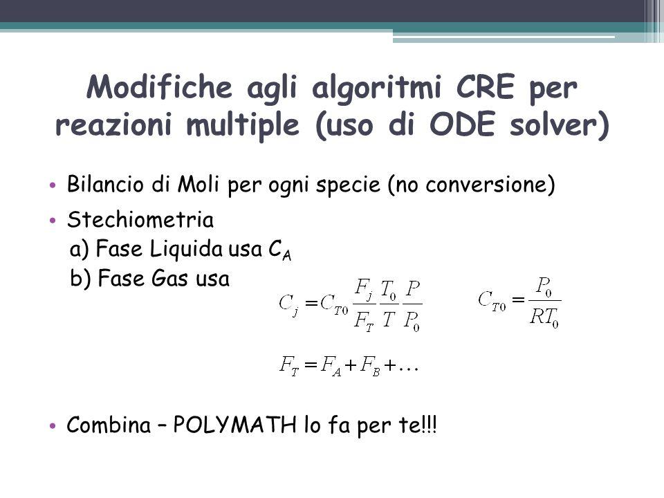 Modifiche agli algoritmi CRE per reazioni multiple (uso di ODE solver) Bilancio di Moli per ogni specie (no conversione) Stechiometria a) Fase Liquida