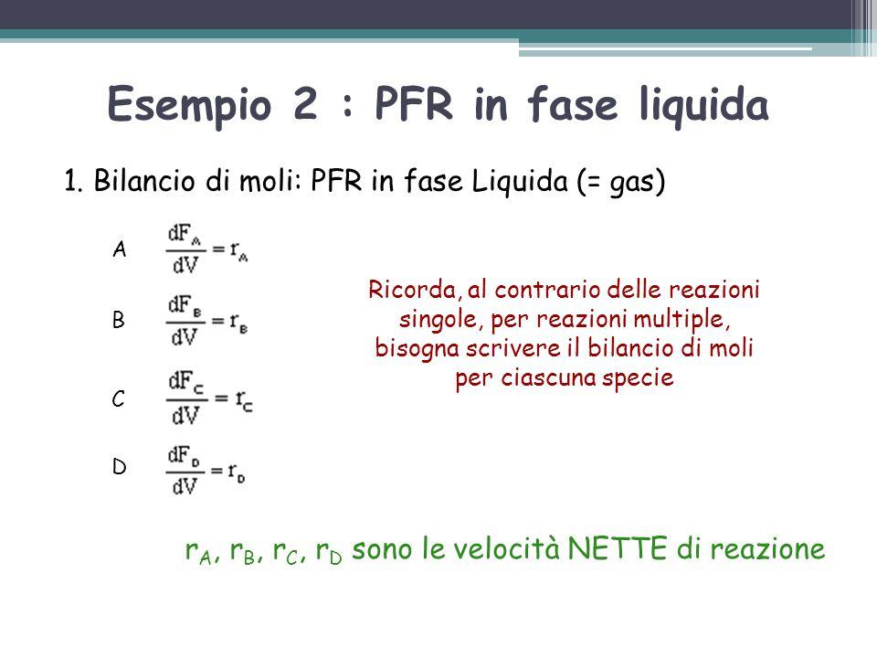 1. Bilancio di moli: PFR in fase Liquida (= gas) Ricorda, al contrario delle reazioni singole, per reazioni multiple, bisogna scrivere il bilancio di