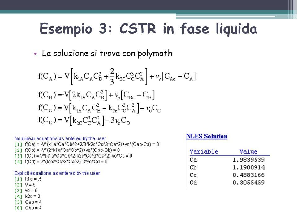 Esempio 3: CSTR in fase liquida La soluzione si trova con polymath